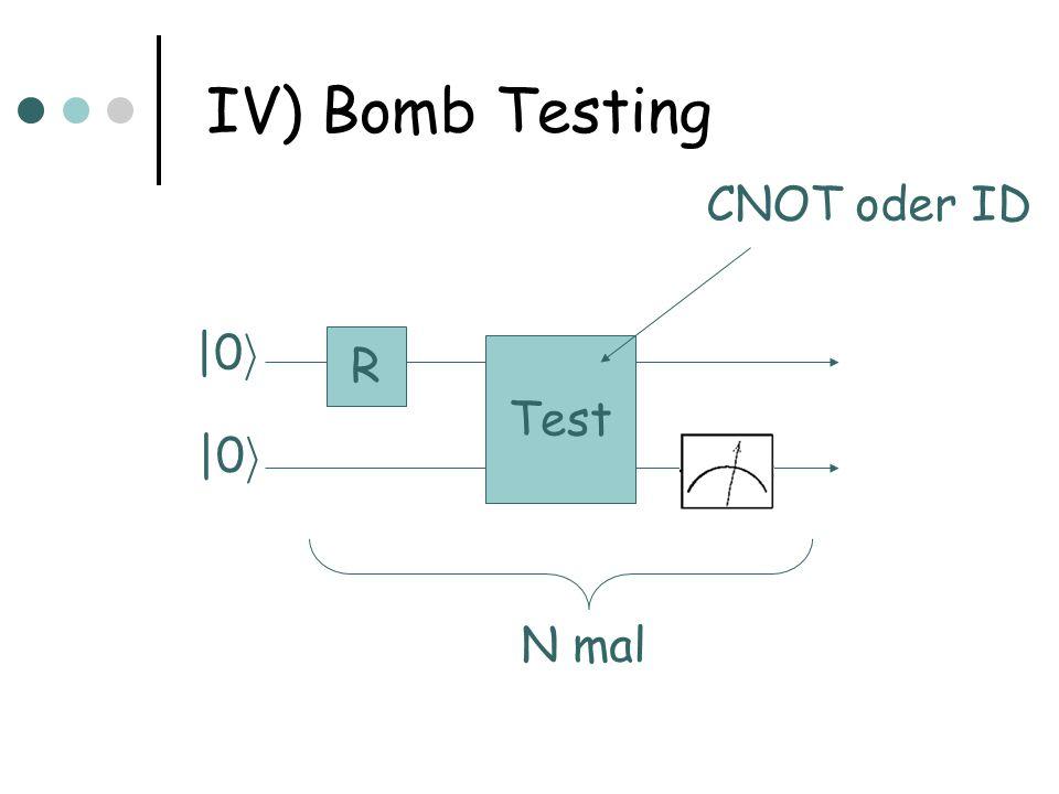 IV) Bomb Testing CNOT oder ID |0i R Test |0i N mal