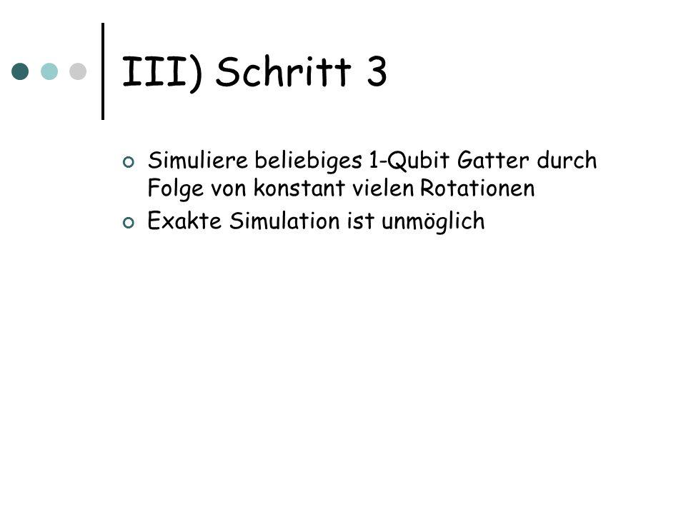 III) Schritt 3 Simuliere beliebiges 1-Qubit Gatter durch Folge von konstant vielen Rotationen.