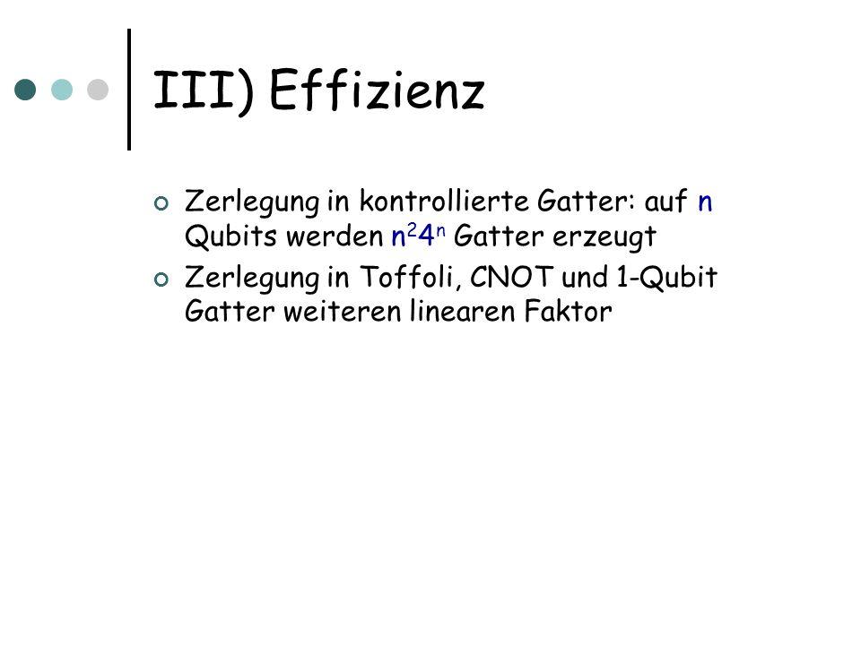 III) Effizienz Zerlegung in kontrollierte Gatter: auf n Qubits werden n24n Gatter erzeugt.