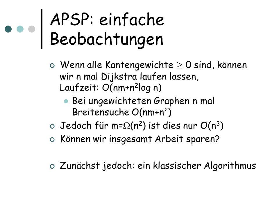 APSP: einfache Beobachtungen