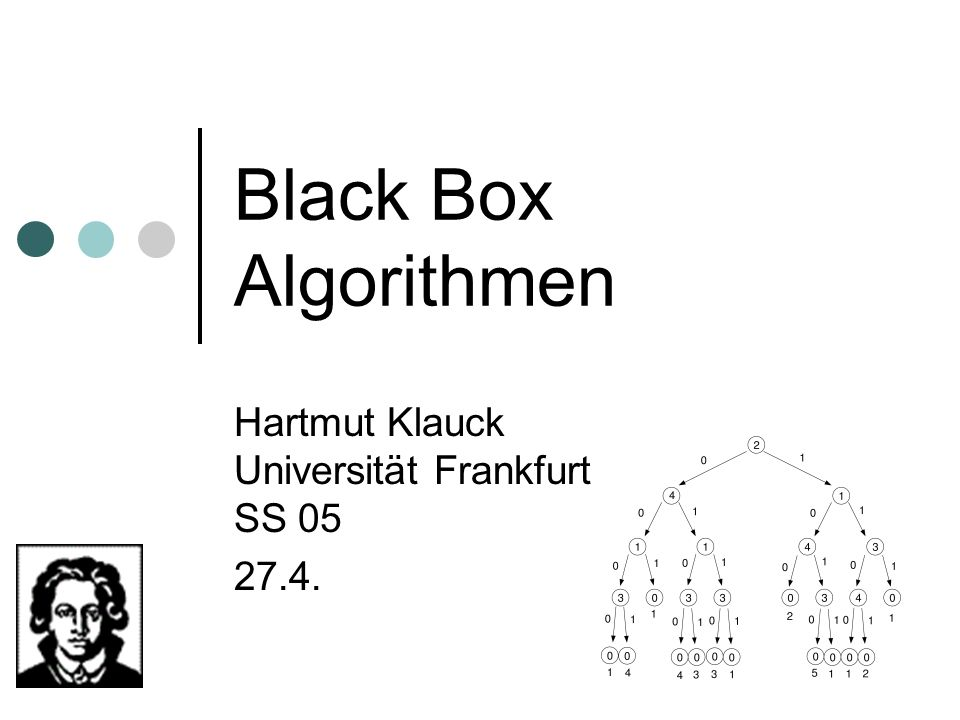 Hartmut Klauck Universität Frankfurt SS 05 27.4.