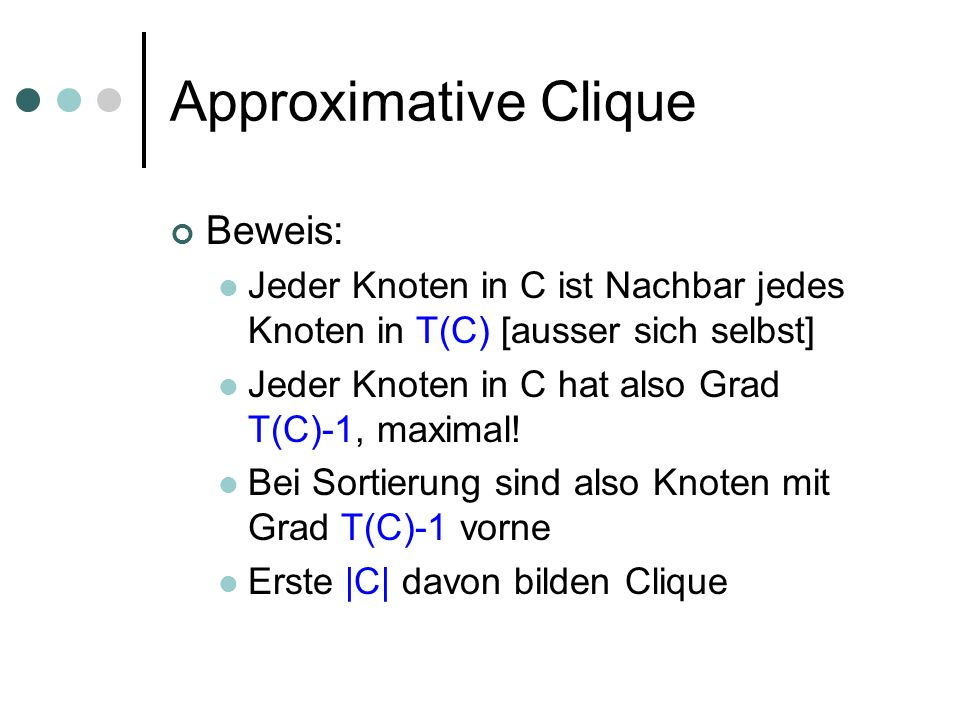 Approximative Clique Beweis: