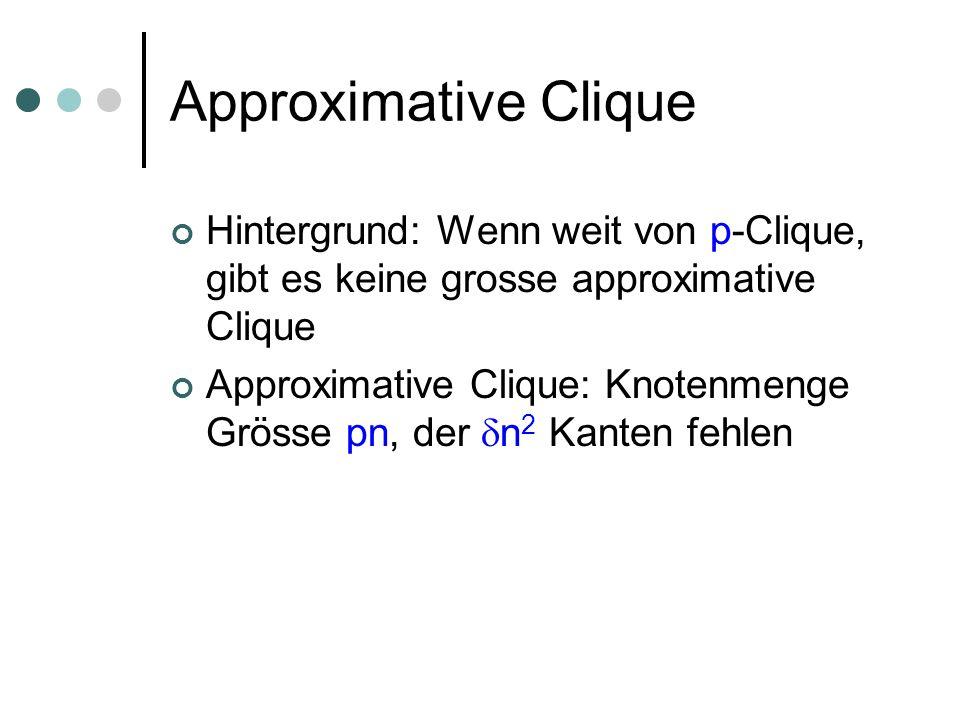 Approximative Clique Hintergrund: Wenn weit von p-Clique, gibt es keine grosse approximative Clique.