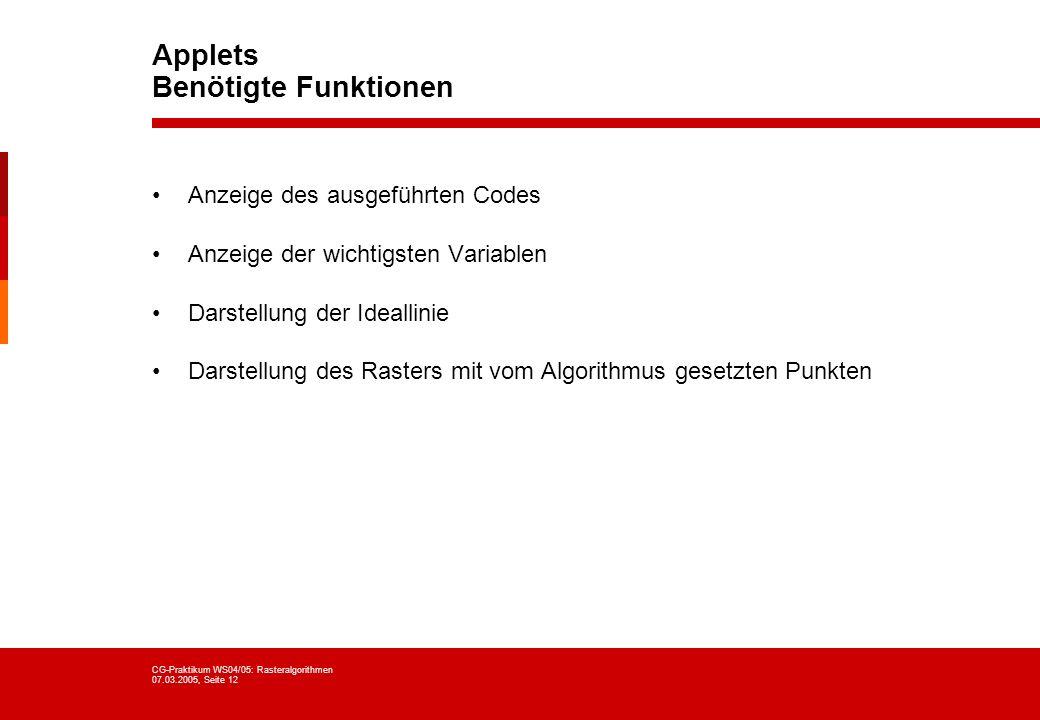 Applets Benötigte Funktionen