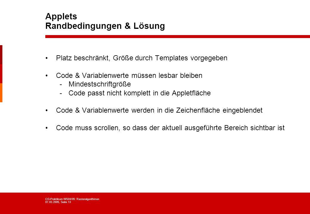 Applets Randbedingungen & Lösung