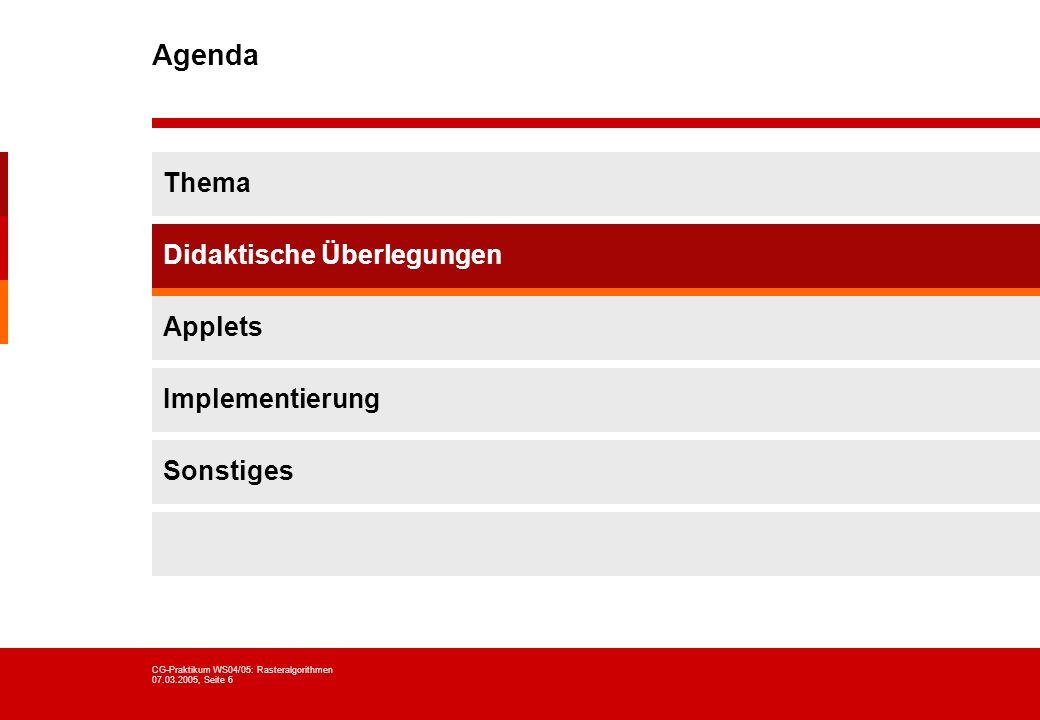 Agenda Thema Didaktische Überlegungen Applets Implementierung