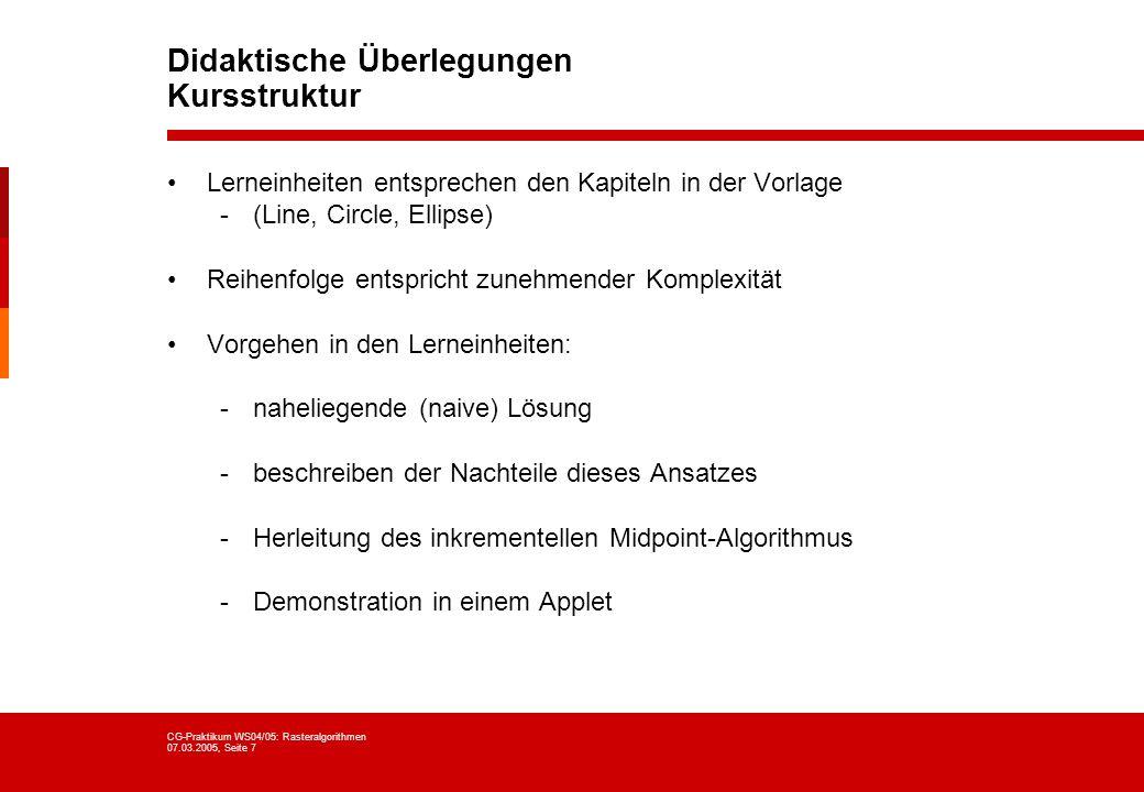 Didaktische Überlegungen Kursstruktur