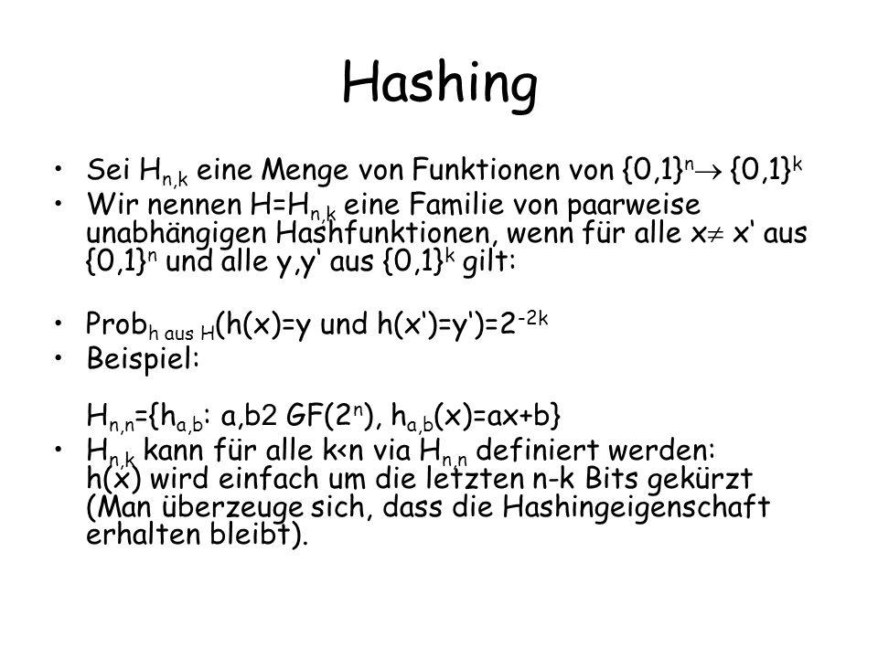 Hashing Sei Hn,k eine Menge von Funktionen von {0,1}n {0,1}k