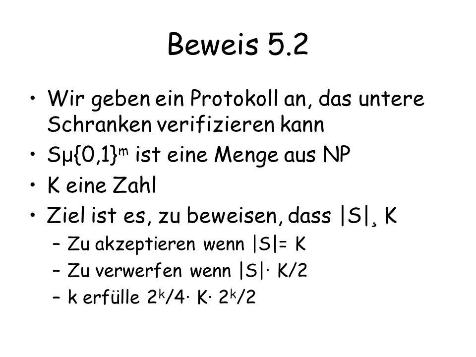 Beweis 5.2 Wir geben ein Protokoll an, das untere Schranken verifizieren kann. Sµ{0,1}m ist eine Menge aus NP.
