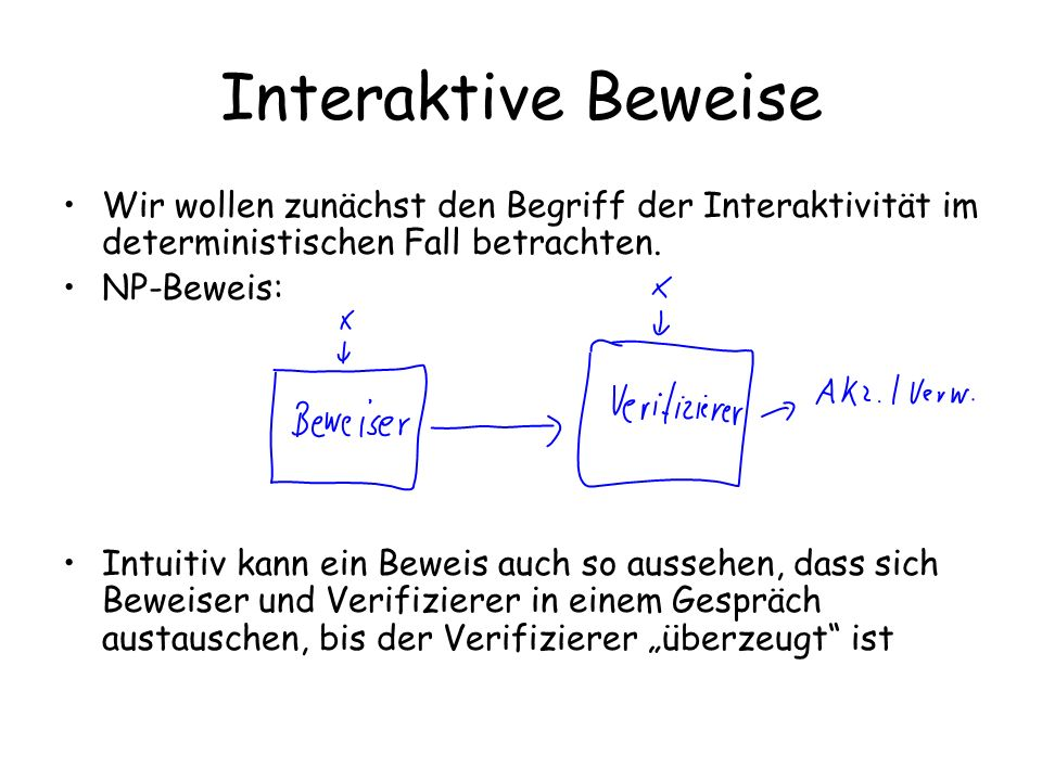 Interaktive Beweise Wir wollen zunächst den Begriff der Interaktivität im deterministischen Fall betrachten.