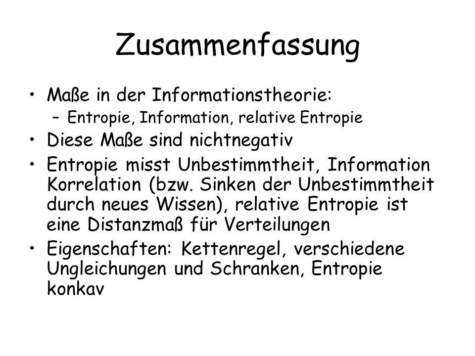 Zusammenfassung Maße in der Informationstheorie: