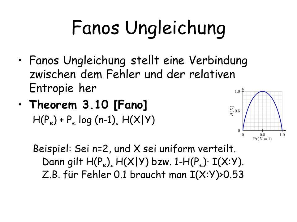 Fanos Ungleichung Fanos Ungleichung stellt eine Verbindung zwischen dem Fehler und der relativen Entropie her.