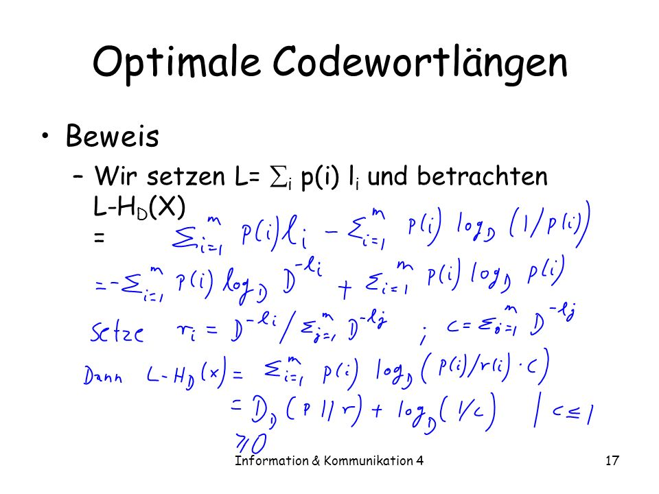 Optimale Codewortlängen