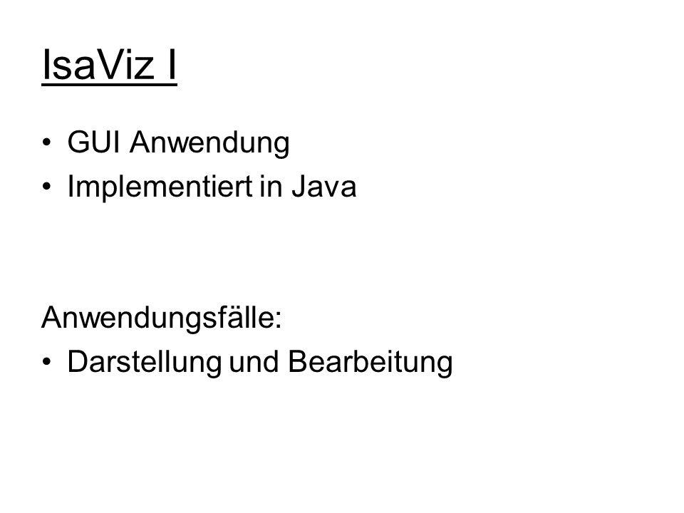 IsaViz I GUI Anwendung Implementiert in Java Anwendungsfälle: