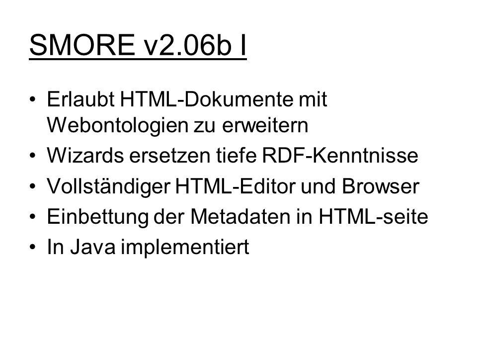 SMORE v2.06b I Erlaubt HTML-Dokumente mit Webontologien zu erweitern