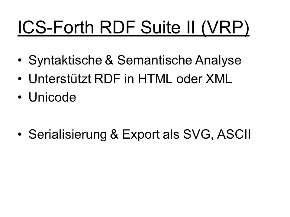 ICS-Forth RDF Suite II (VRP)
