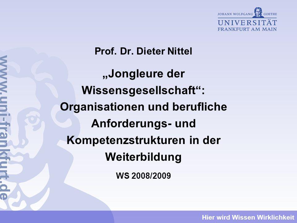 """Prof. Dr. Dieter Nittel """"Jongleure der Wissensgesellschaft : Organisationen und berufliche Anforderungs- und Kompetenzstrukturen in der Weiterbildung."""