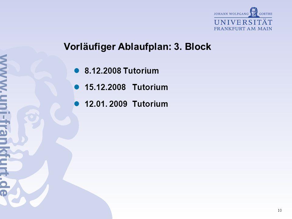 Vorläufiger Ablaufplan: 3. Block
