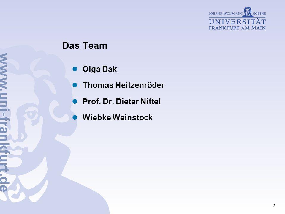 Das Team Olga Dak Thomas Heitzenröder Prof. Dr. Dieter Nittel
