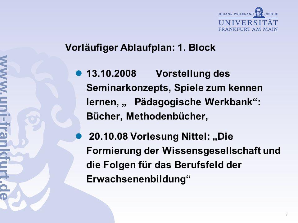 Vorläufiger Ablaufplan: 1. Block