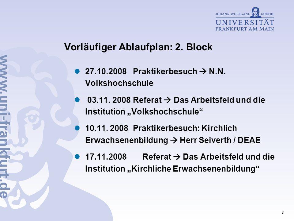 Vorläufiger Ablaufplan: 2. Block