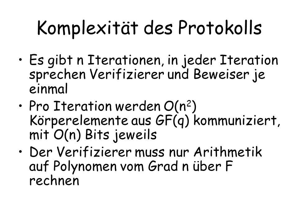 Komplexität des Protokolls
