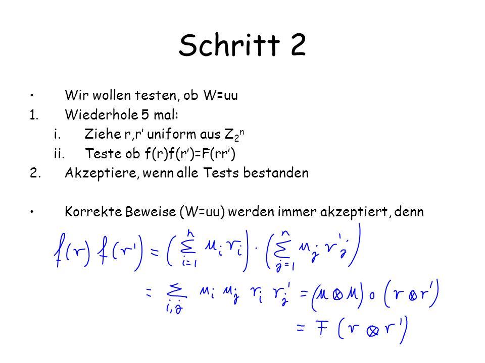 Schritt 2 Wir wollen testen, ob W=uu Wiederhole 5 mal: