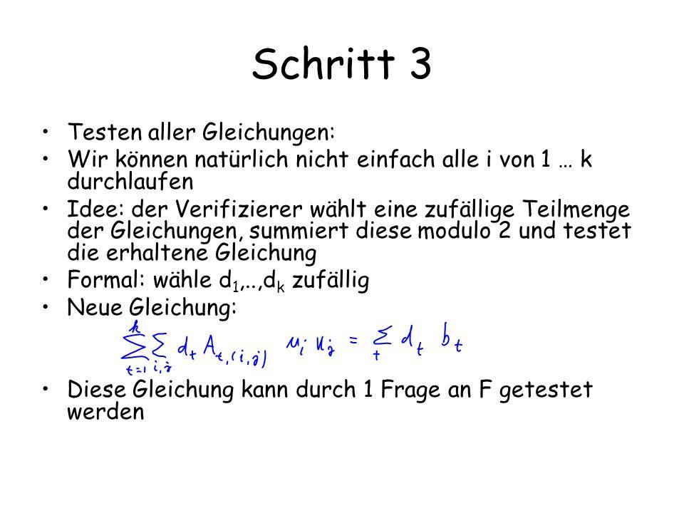 Schritt 3 Testen aller Gleichungen: