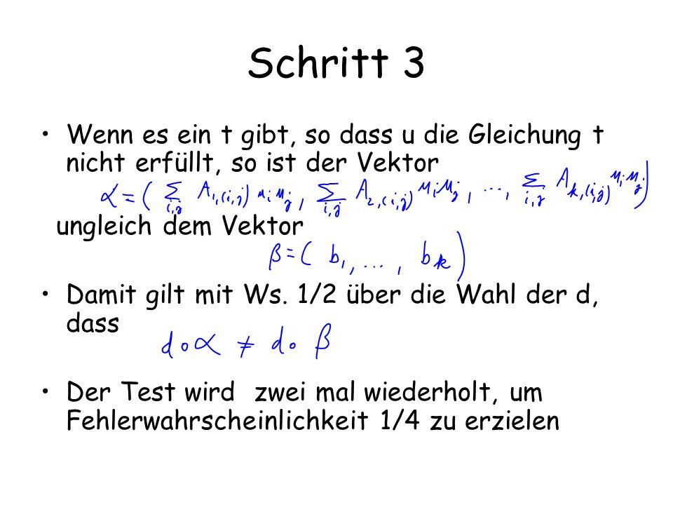 Schritt 3 Wenn es ein t gibt, so dass u die Gleichung t nicht erfüllt, so ist der Vektor. ungleich dem Vektor.
