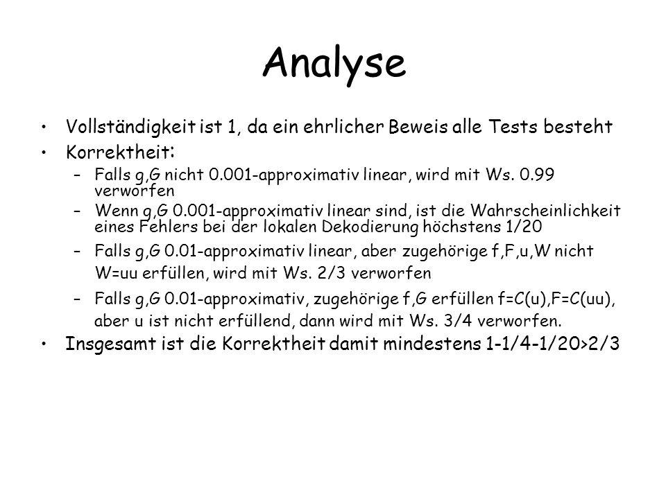 Analyse Vollständigkeit ist 1, da ein ehrlicher Beweis alle Tests besteht. Korrektheit: