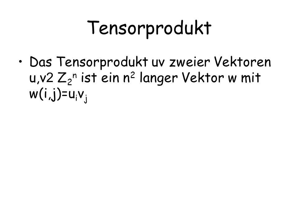 Tensorprodukt Das Tensorprodukt uv zweier Vektoren u,v2 Z2n ist ein n2 langer Vektor w mit w(i,j)=uivj.