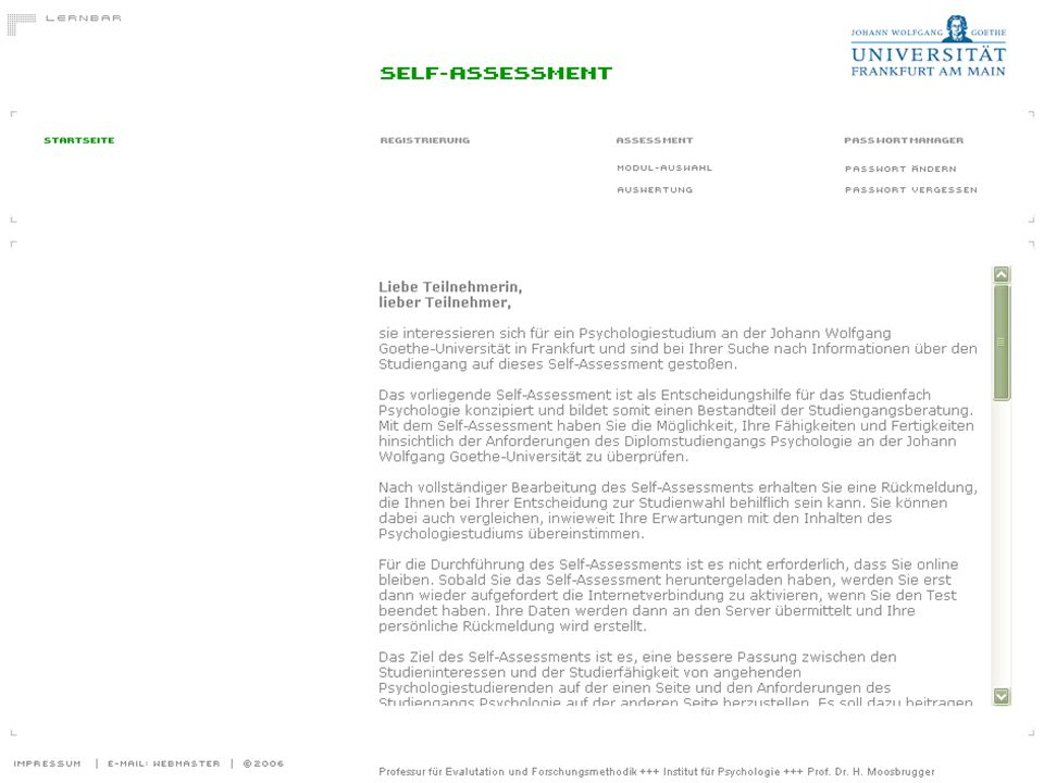 Startseite des Self-Assessments Psychologie