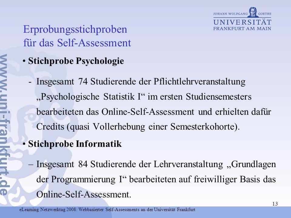 Erprobungsstichproben für das Self-Assessment