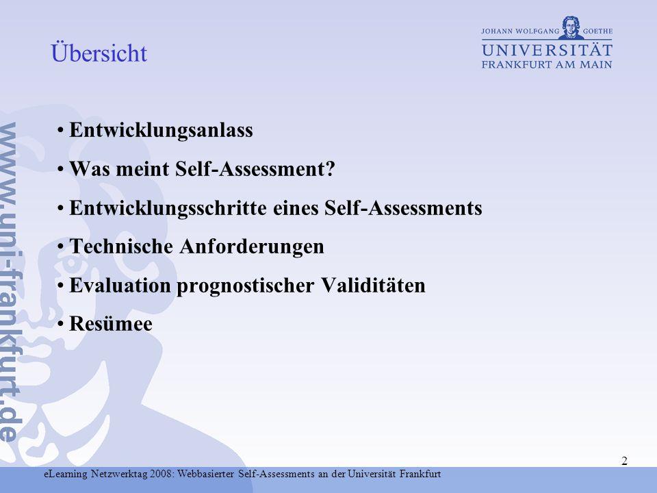 Übersicht Entwicklungsanlass Was meint Self-Assessment
