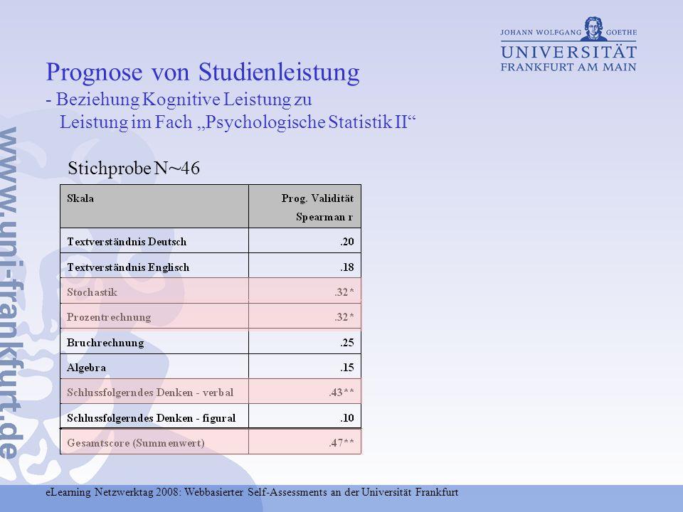 """Prognose von Studienleistung - Beziehung Kognitive Leistung zu Leistung im Fach """"Psychologische Statistik II"""