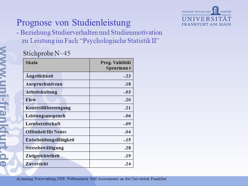 Prognose von Studienleistung - Beziehung Studierverhalten und Studienmotivation zu Leistung im Fach Psychologische Statistik II