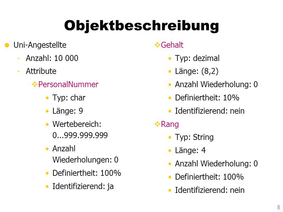 Objektbeschreibung Uni-Angestellte Anzahl: 10 000 Attribute