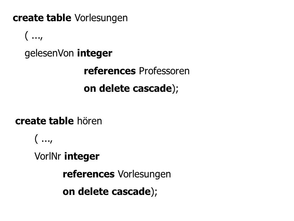 create table Vorlesungen