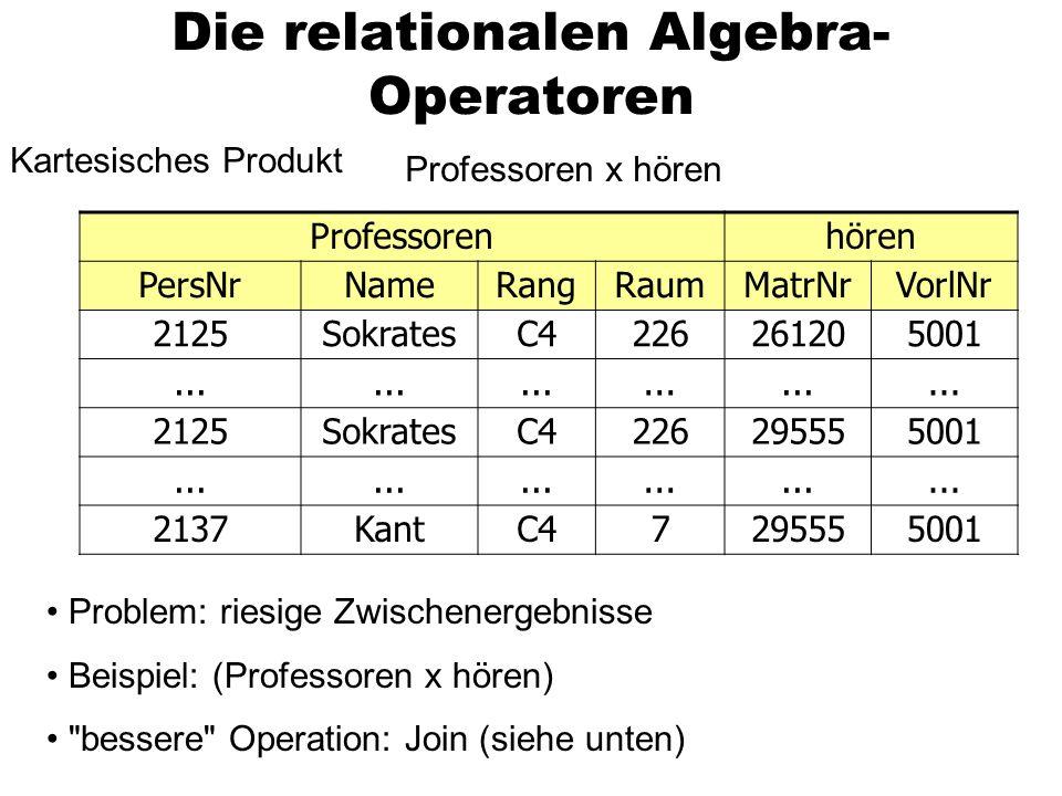 Die relationalen Algebra-Operatoren