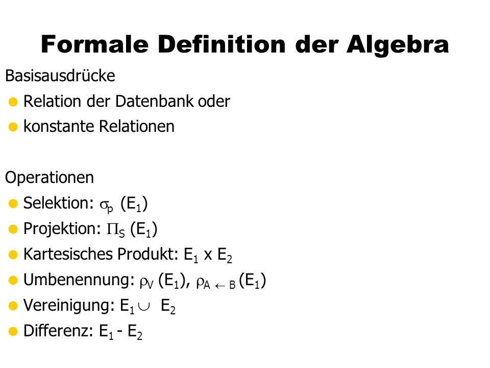 Formale Definition der Algebra