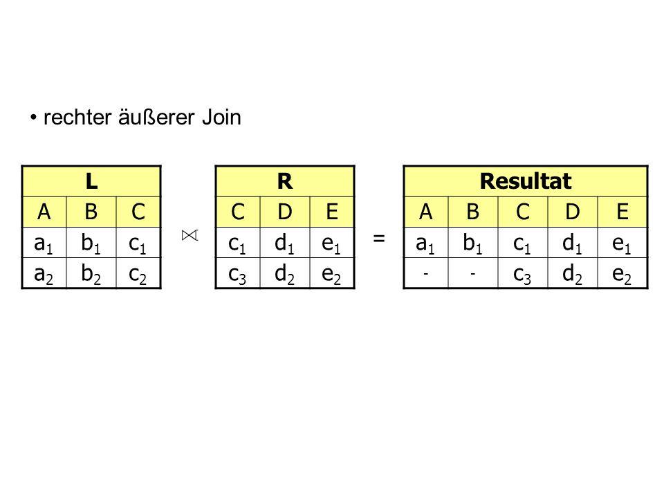 rechter äußerer Join L. A. B. C. a1. b1. c1. a2. b2. c2. R. C. D. E. c1. d1. e1. c3.