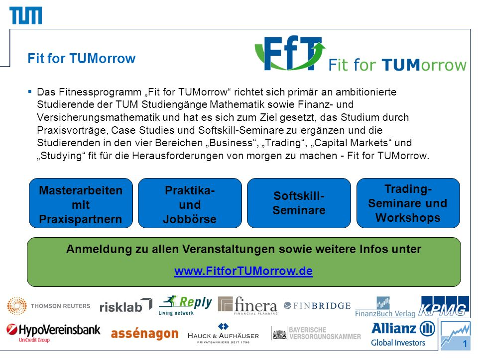 Fit for TUMorrow Masterarbeiten mit Praxispartnern