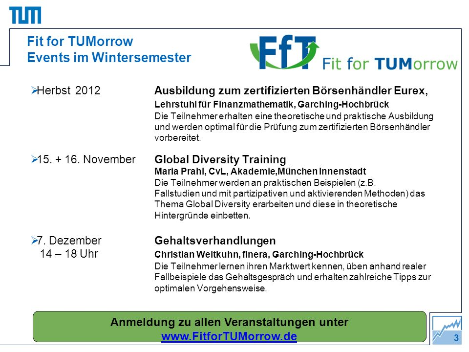 Fit for TUMorrow Events im Wintersemester
