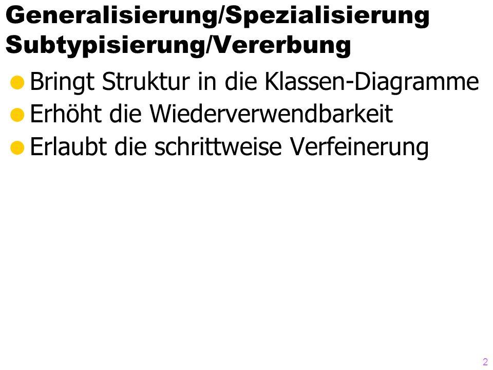 Generalisierung/Spezialisierung Subtypisierung/Vererbung