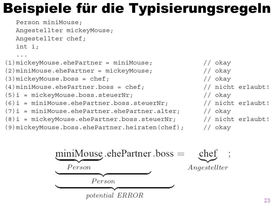 Beispiele für die Typisierungsregeln