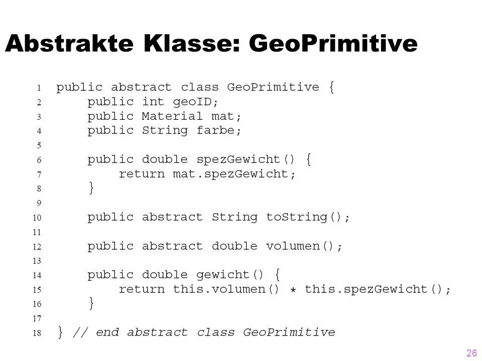 Abstrakte Klasse: GeoPrimitive