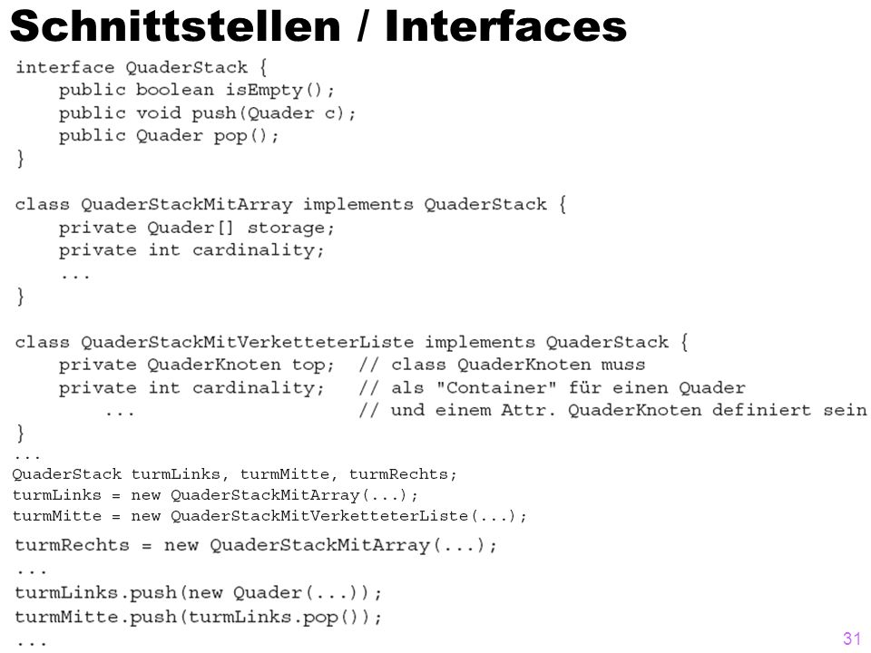 Schnittstellen / Interfaces
