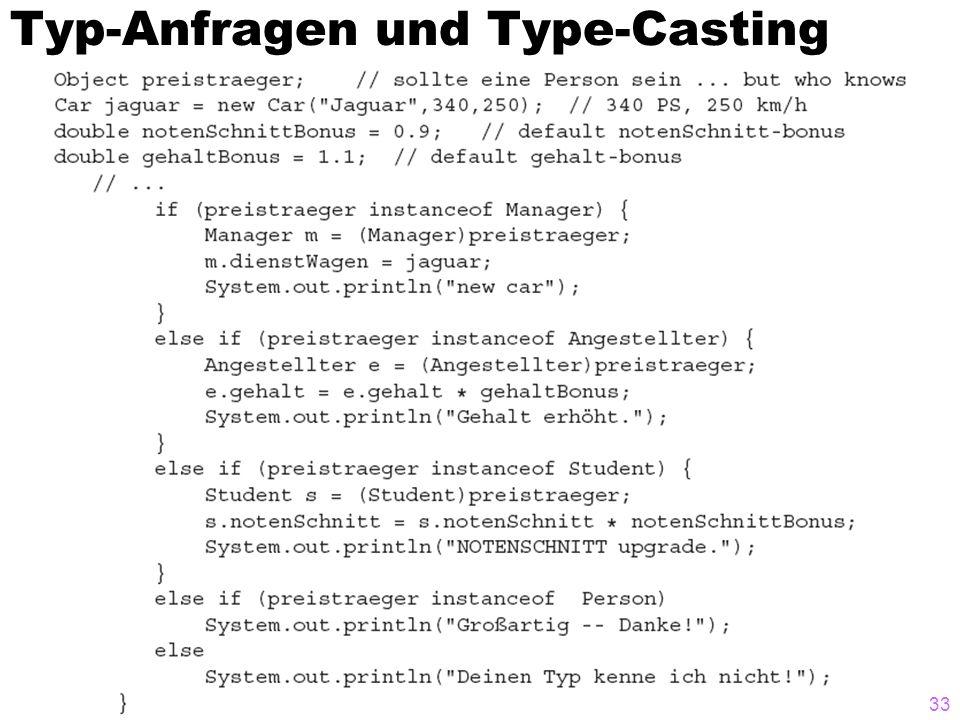 Typ-Anfragen und Type-Casting