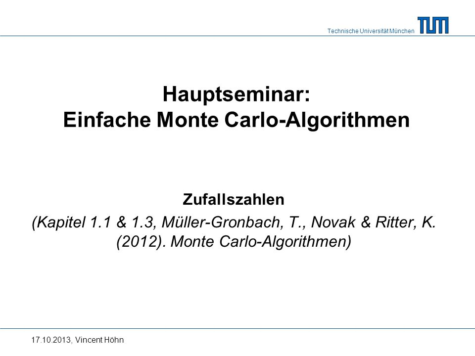 Hauptseminar: Einfache Monte Carlo-Algorithmen