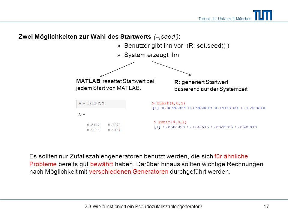 Zwei Möglichkeiten zur Wahl des Startwerts (='seed'):